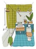 Hand drawn modern bathroom interior design. Vector colorful sketch illustration. Royalty Free Stock Photography