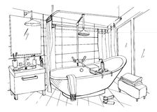 Hand drawn modern bathroom interior design. Vector sketch illustration. royalty free illustration