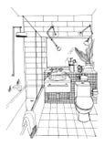Hand drawn modern bathroom interior design. Vector sketch illustration. Stock Image
