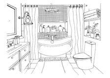 Hand drawn modern bathroom interior design, Vector sketch illustration. Royalty Free Stock Photos