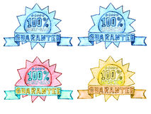 Hand-drawn money back and satisfaction guarantee s. 100 percent pencil drawing of money back and satisfaction guarantee seal isolated over white background Royalty Free Stock Photo