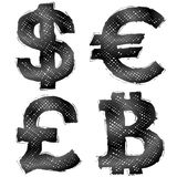 Hand drawn money symbols with hatching Royalty Free Stock Photography