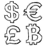 Hand drawn money symbols Stock Photography