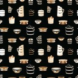 Vector seamless pattern illustrating mongolian traditional kitchenware. royalty free illustration