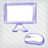 Hand drawn monitor with mouse Royalty Free Stock Images