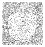 Hand drawn monkey against floral pattern background Royalty Free Stock Image