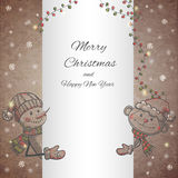 Hand drawn Monkey and Snowman holding banner. Vector illustration Stock Photos