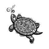 Hand drawn monochrome doodle turtle decorated with oriental ornament. Turtle on white background design flat. Tortoise with a big black carapace. The head and Vector Illustration