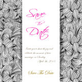 Hand drawn monochrome doodles pattern invitation. Scetch of background with abstract shapes illustration. Royalty Free Stock Image