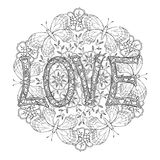 Hand drawn monochrome letters LOVE text and mandala with butterflies Stock Images