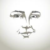 Hand-drawn monochrome portrait of white-skin flirting woman, fac Stock Images