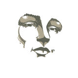Hand-drawn monochrome portrait of white-skin flirting woman, fac Royalty Free Stock Image