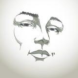 Hand-drawn monochrome portrait of white-skin flirting woman Stock Images