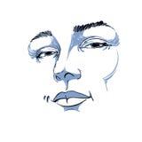 Hand-drawn monochrome portrait of white-skin flirting woman Royalty Free Stock Photography