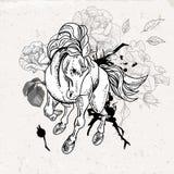 Hand drawn monochrome sketch horse Stock Photos
