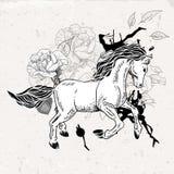 Hand drawn monochrome sketch horse Stock Photo
