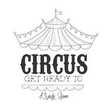 Hand Drawn Monochrome Vintage Circus Show Promotion Sign With Date And Time In Pencil Sketch Style With Calligraphic Stock Images