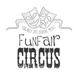 Hand Drawn Monochrome Vintage Circus Show Promotion Sign With Symbolical Masks In Pencil Sketch Style With Calligraphic Stock Photography