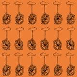 Hand drawn monocycle pattern background, illustration of unicycle Stock Photography