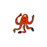 Hand drawn monster cartoon octopus in mittens for Christmas griiting cards Stock Images