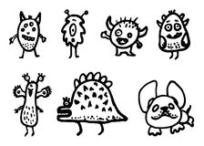 Hand Drawn monsters doodles set. Sketch style icons. Decoration stock illustration