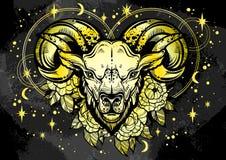 Hand-drawn mooie kunstwerk van een ram met pioenbloemen en astrologie ondertekent rond Ram, dierenriemteken In vectorart. stock illustratie