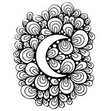 Hand drawn moon with abstract elements Stock Photography