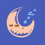 Hand drawn moon sleeping  illustration Stock Photography
