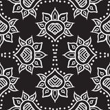Hand drawn moroccan seamless fabric vector design. Detailed hand drawn ethnic ornament, with thick lines and stylized flowers, black and white, seamless fabric Royalty Free Stock Photo