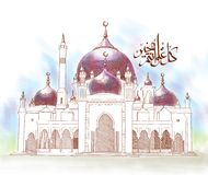 Hand Drawn Mosque. Vector file available in EPS10 Royalty Free Stock Photo