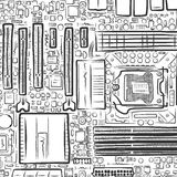 Hand drawn motherboard Royalty Free Stock Photos