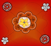 Hand-drawn motif with flowers on orange Stock Images