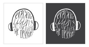 Hand drawn motivating lettering art work, dedicated to music and its meaning in our life. Stock Images