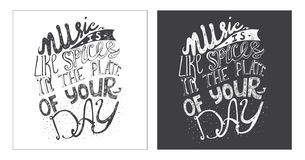 Hand drawn motivating lettering art work, dedicated to music and its meaning in our life. Royalty Free Stock Images