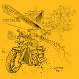 Hand drawn motorcycle on background. New York,  Brooklyn Concept. hand drawn vector illustration Royalty Free Stock Image