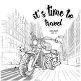Hand drawn motorcycle on background. New York. hand drawn vector illustration Royalty Free Stock Photos