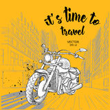 Hand drawn motorcycle on background. New York. hand drawn vector illustration Stock Image