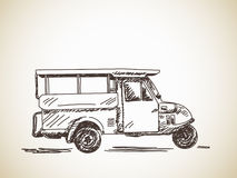 Hand drawn motorcycle rickshaw Stock Photos