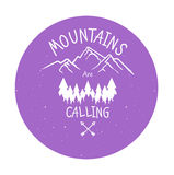 Hand drawn mountain adventure label. Mountain calling illustration. Trendy Outlined style illustration,Typographic. Design for you project Royalty Free Stock Photo