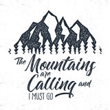 Hand drawn mountain advventure label.  calling illustration. Typography design with sun bursts trees and . Roughen style Stock Photos