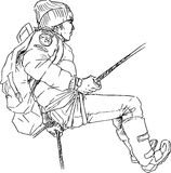 Hand drawn mountain climber Royalty Free Stock Images