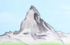 Hand drawn of mountain Matterhorn. Royalty Free Stock Images
