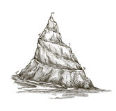 Hand drawn mountain. Mountain peak. serpentine roa Royalty Free Stock Photo