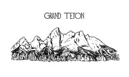 Hand drawn mountain peak. Vector illustration of hand drawn mountain in American Grand Teton National Park. Ink drawing, graphic style. Perfect for travel, sport Royalty Free Stock Image