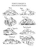 Hand drawn mountain peaks. Vector print with hand drawn North American mountain peaks. Ink drawing, graphic style. Perfect for travel, sport or spiritual designs Royalty Free Stock Image