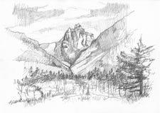 Hand-drawn mountain Royalty Free Stock Photo