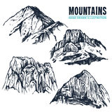 Hand Drawn Mountains Contours Stock Photography