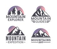 Hand drawn Mountains Logo set. Ski Resort vector icons, mountain silhouette elements. Ride and Snowboarding symbols isolated, travel labels Stock Illustration