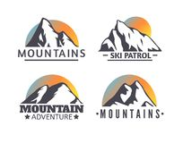 Hand drawn Mountains Logo set. Ski Resort vector icons, mountain silhouette elements. Ride and Snowboarding symbols isolated, travel labels Vector Illustration