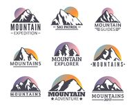 Hand drawn Mountains Logo set. Ski Resort vector icons, mountain silhouette elements. Ride and Snowboarding symbols , travel labels Royalty Free Illustration